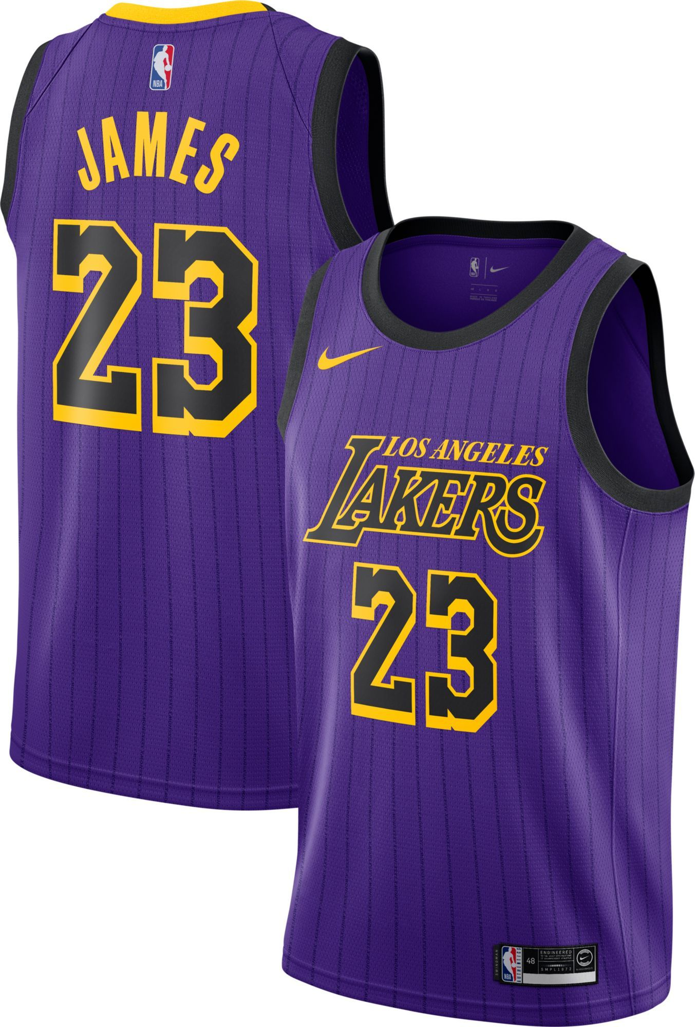 b2d52021aa63 Nike Men s Los Angeles Lakers LeBron James Dri-FIT City Edition Swingman  Jersey