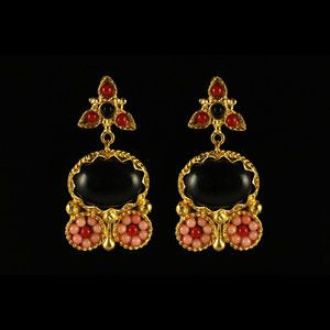 Athena Earrings Gold Black Coral, $30, now featured on Fab.