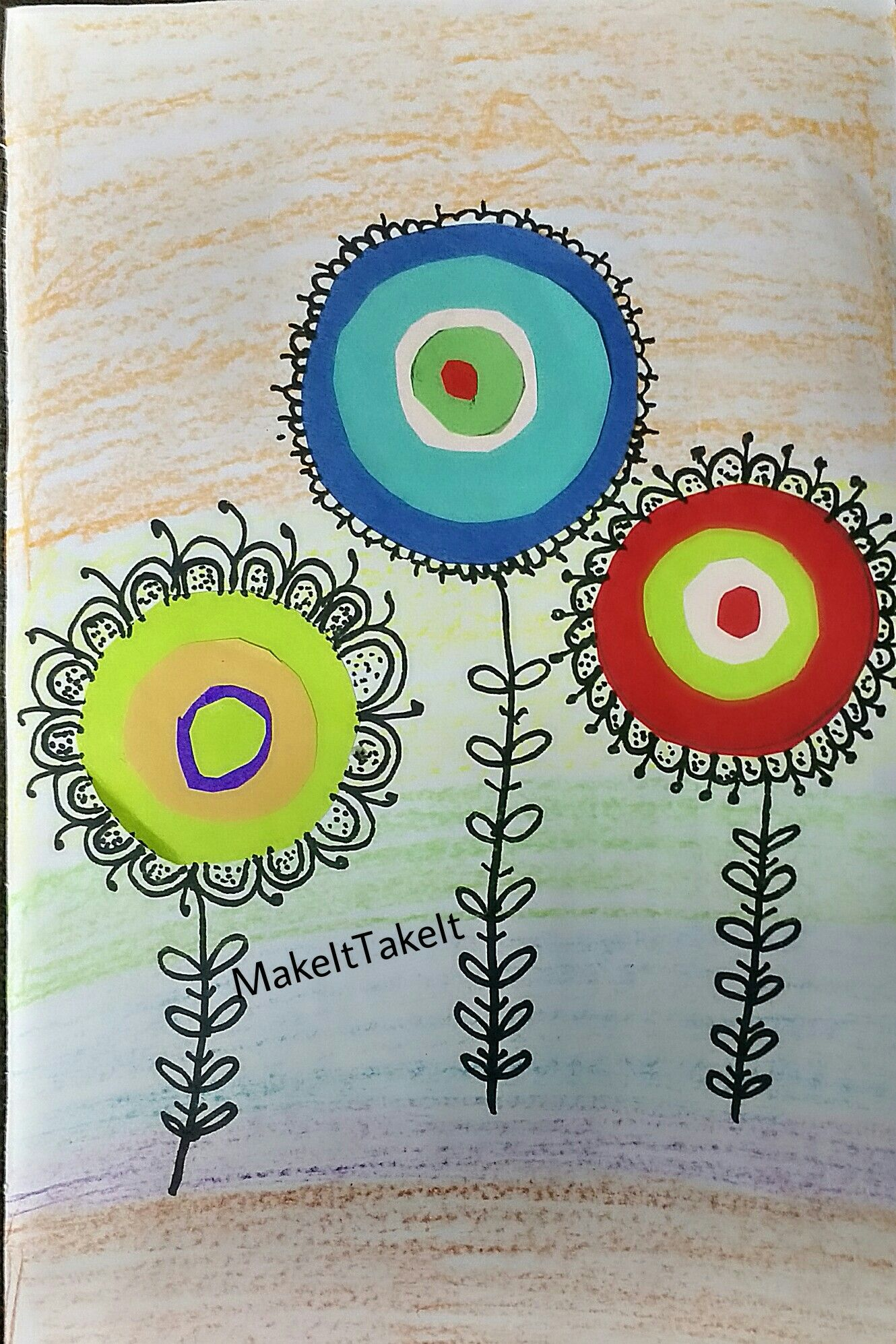Kandinsky inspired #flower #art for kids. Simple and colorful ...