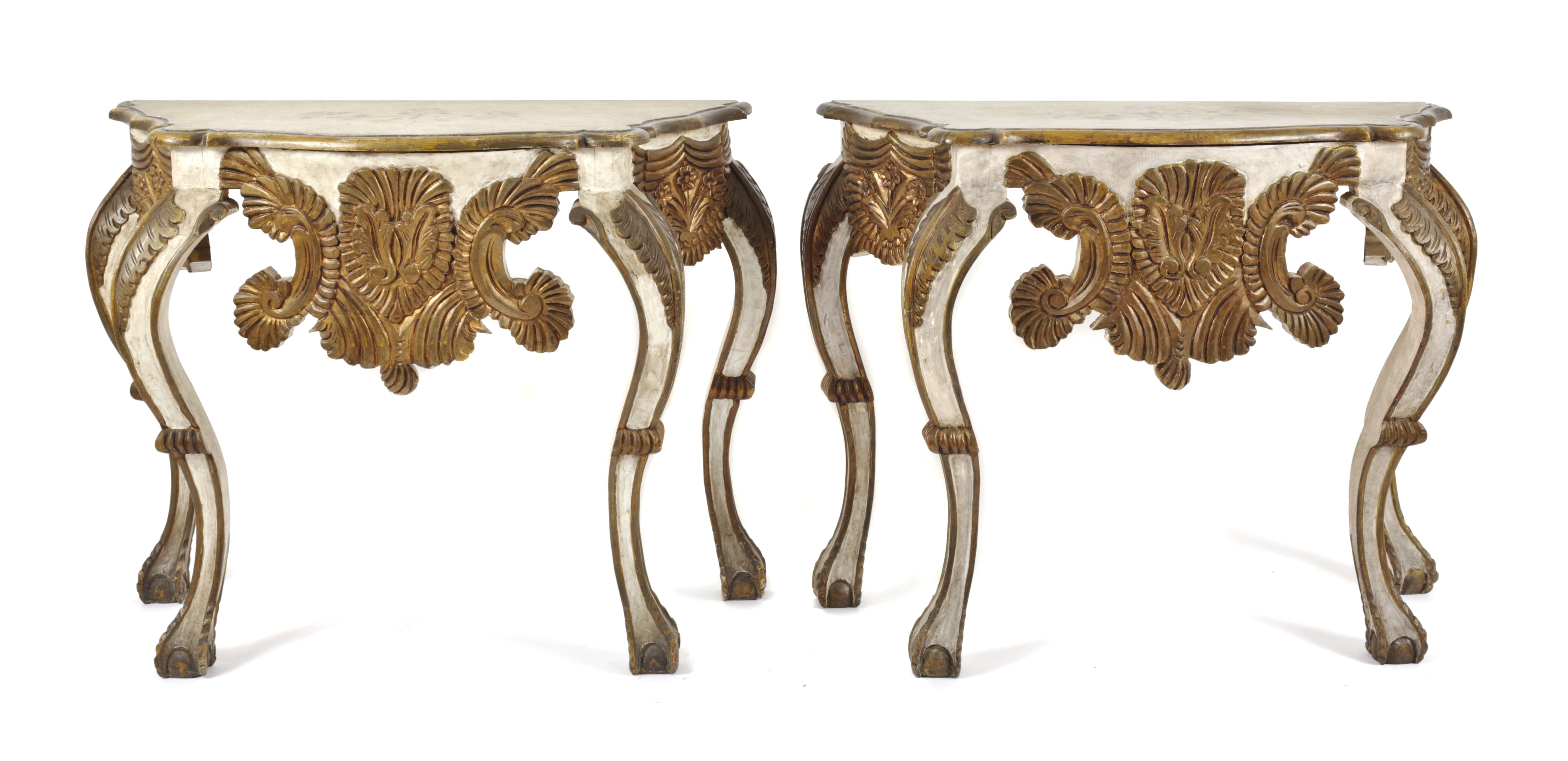 A Pair of Hispano-Portuguese Baroque Style Painted and Parcel Gilt