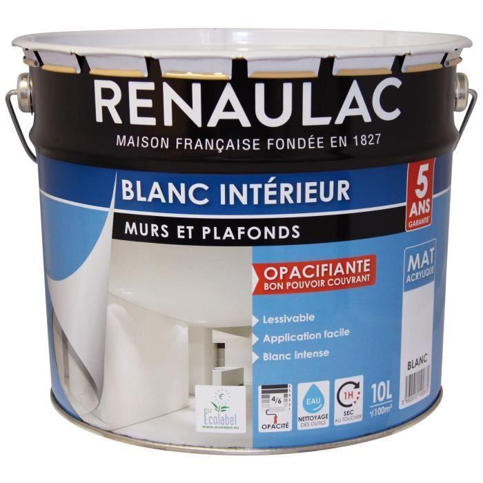 Renaulac Peinture Murs Et Plafonds Acrylique 10 L Blanc
