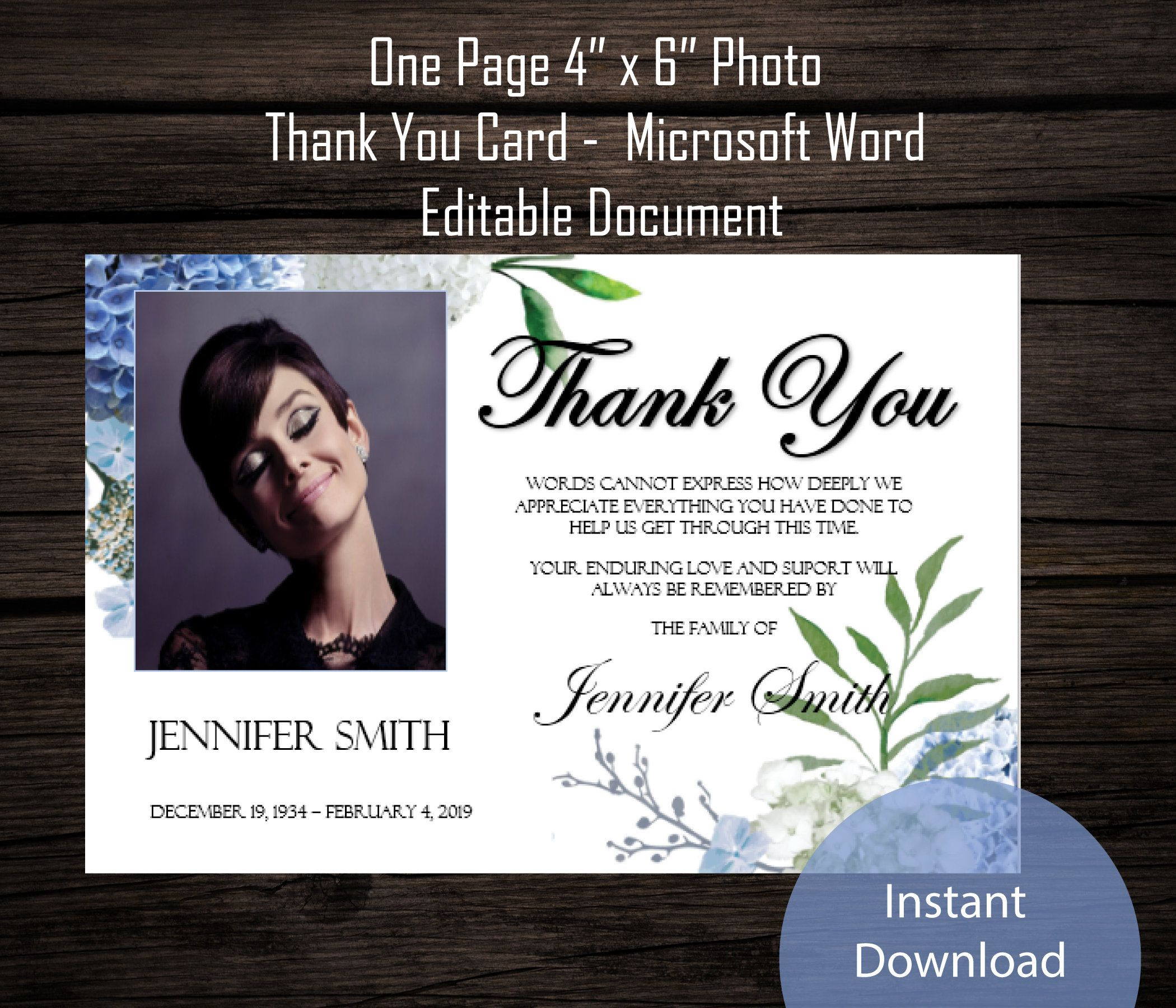 Diy Funeral Photo Thank You Card 4 X 6 Etsy Photo Thank You Cards Thank You Cards Thank You Card Template