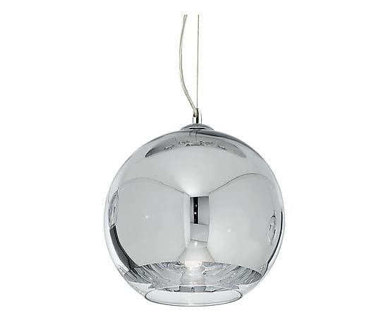 Lampada a sospensione in vetro soffiato e cromato - max 20x116 cm