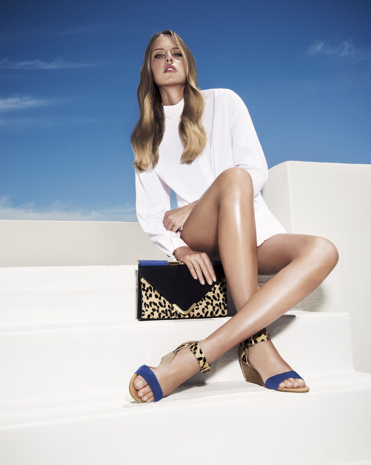 Dune London SS14 campaign, featuring Barrio clutch and leopard print  sandals Ginni #dunelondon #