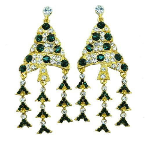 "Ever Faith 18K GP 3.5"" Christmas Tree Tassel Green Austrian Crystal Chandelier Dangle Earring Ever Faith. $16.95. Dangling flower is decorated at the bottom, beautiful showing off its shyness and purity.. Austrian Crystal (one of the best quality crystals in the world ). 3.50"" by 1.38"""