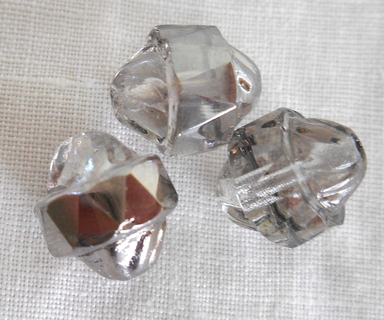 Ten Czech Platinum turbine, cathedral, saturn crystal glass beads, 11 x 10mm, C0101