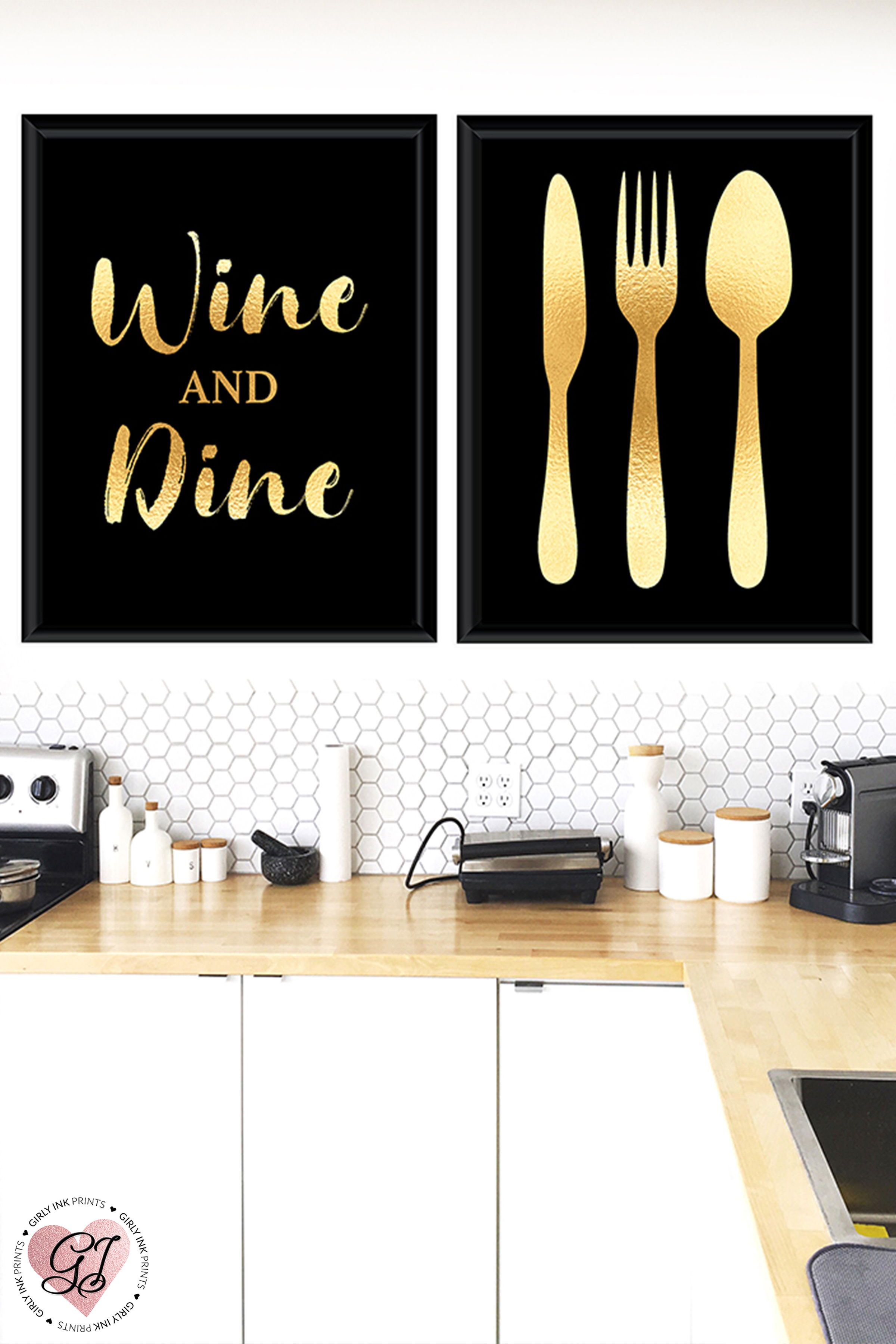 Wine And Dine Print Kitchen Print Black Gold Kitchen Decor