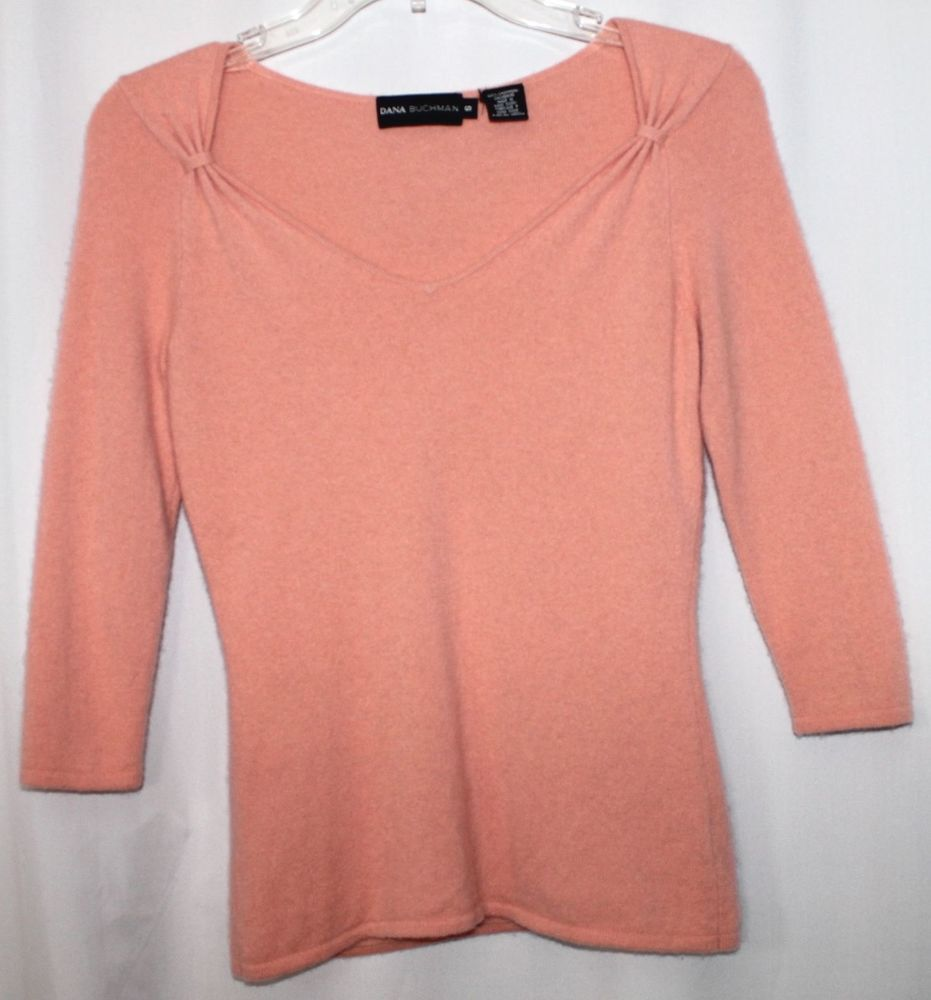 Dana Buckman Peach Cashmere Sweater Women Small | Cashmere ...
