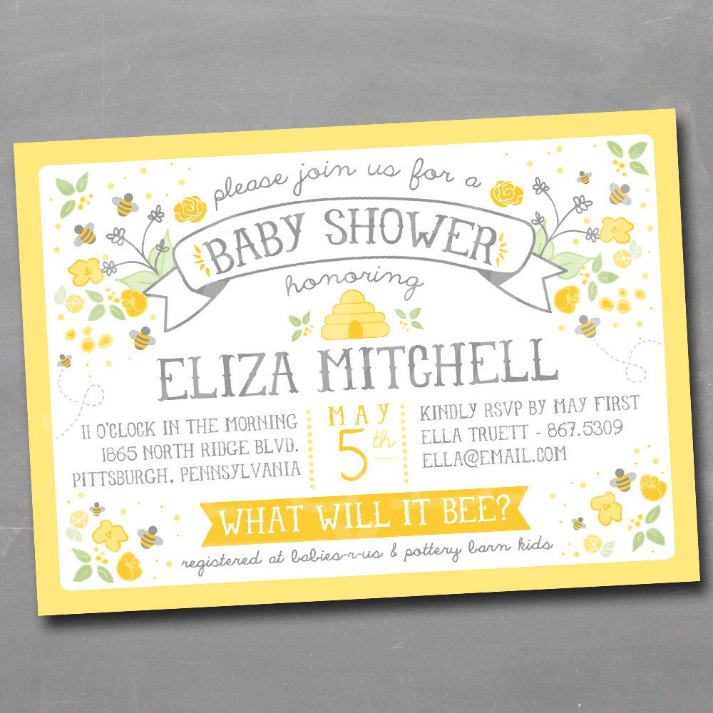 What Will it Bee Invitation Honeybee Bumble Bee Invite Gender Reveal ...