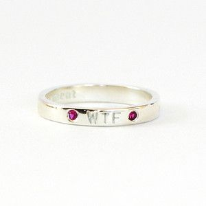 WTF silver ring with rubies...a small delicate sentimate you can keep to yourself during a stressful day.