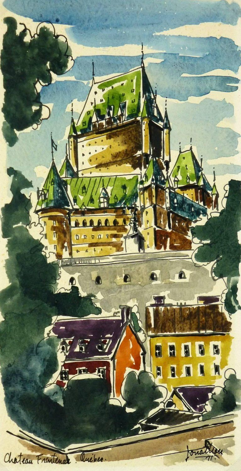 Unknown Landscape Watercolor Le Chateau Frontenac Quebec
