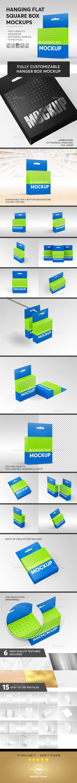 Download Hanging Flat Square Box Mockups Miscellaneous Packaging Box Mockup Mockup Box Packaging Design