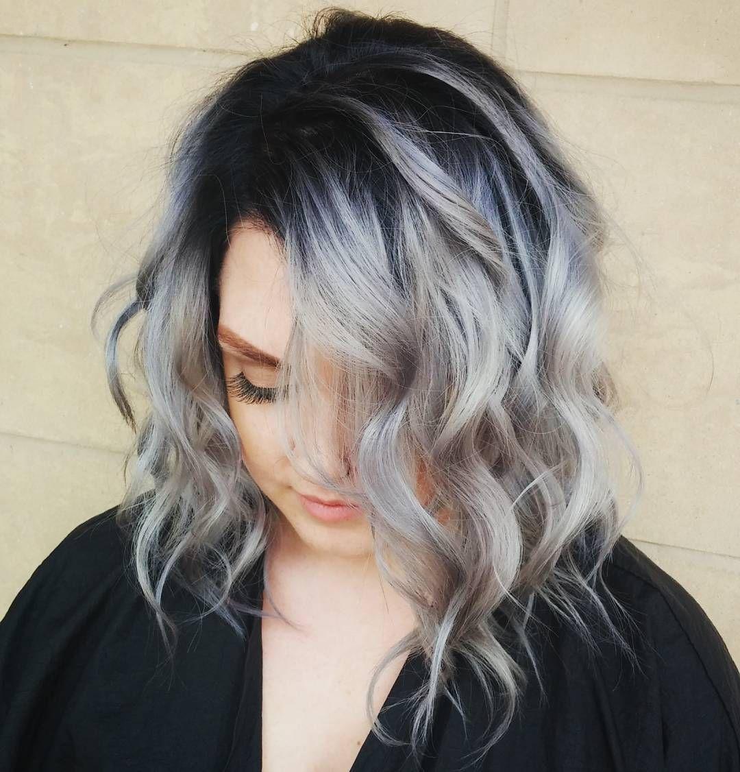 Ash gray chunks hair pinterest hair hair cuts and balayage