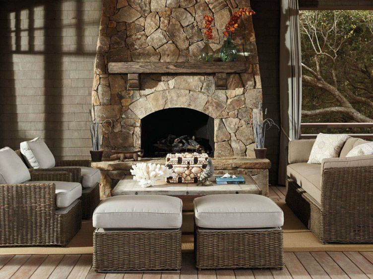 screened porch, stone fireplance comfy furniture... all of my favorite things.