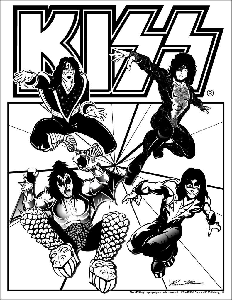 Coloring pages kiss - Kiss Band Cartoon Wallpaper For Android
