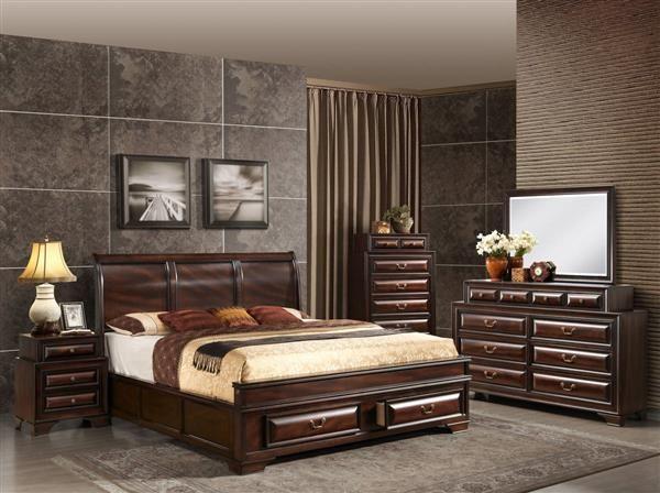 Sarina Varnish Oak Wood Master Bedroom Set | Bedrooms set ...