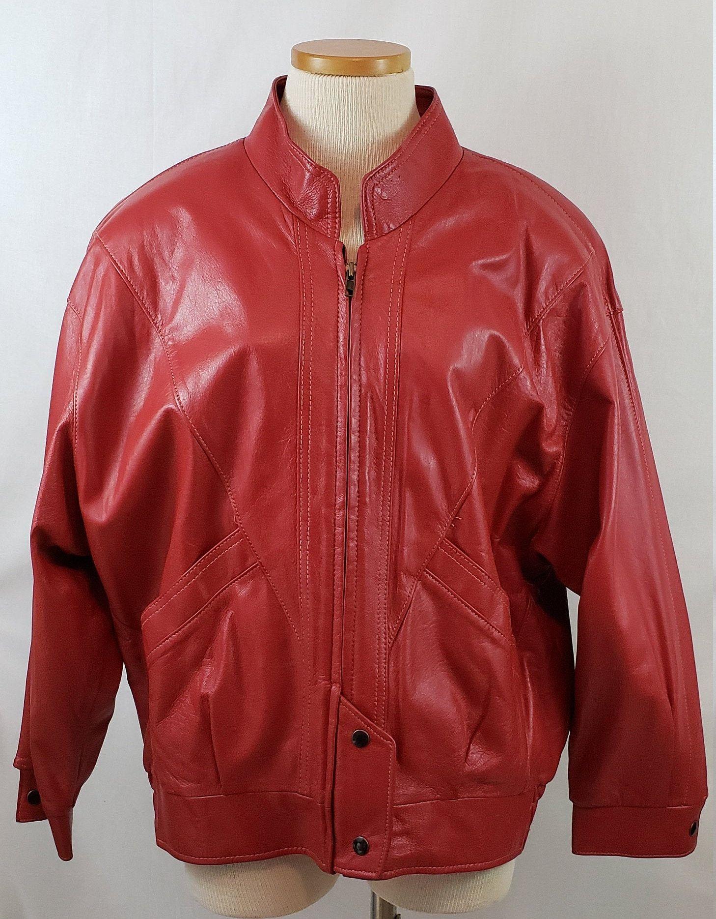 Vintage Red Leather Jacket 1980 S New Wave Thriller Etsy Red Leather Jacket Leather Jacket Jackets [ 1869 x 1458 Pixel ]