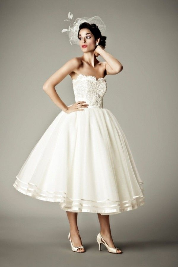 Short Wedding Dresses. found it with a back picture- AMAZING bow detail in the back :) Pinterest | Weddingbells.ca
