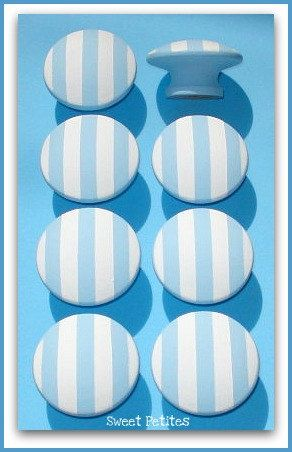 Dresser Knobs - Hand Painted Knobs - Nautical Stripes - Blue - White - Drawer Pulls