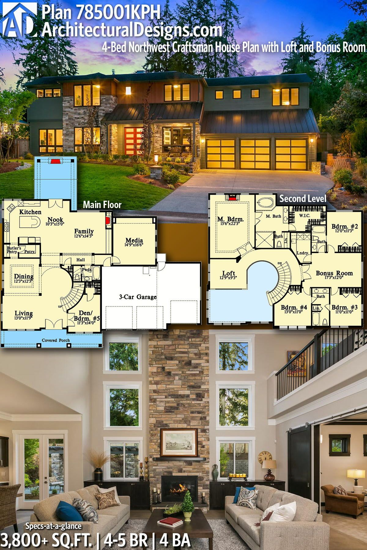 Plan 785001KPH: 4-Bed Northwest Craftsman House Plan with ...