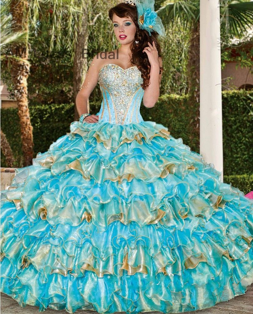Free shipping buy best ice blue gold ball gown quinceanera