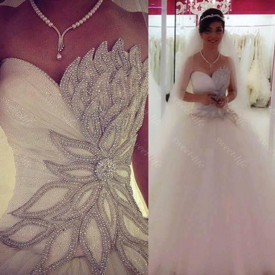 2015 Sexy Princess Bling Wedding Dresses Backless Lace Up Court Train Tulle A Line