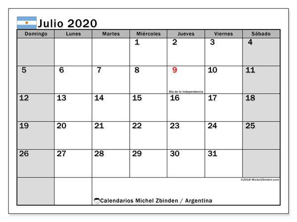 Calendario Argentina Julio De 2020 Para Imprimir Calendario Septiembre Calendario De Octubre Calendario Julio