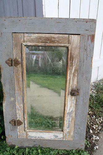Vintage Wooden Bathroom Medicine Cabinet W Beveled Mirror