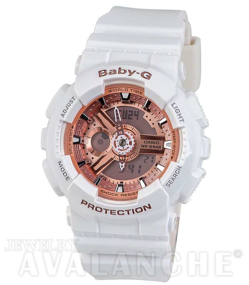 1475db5c1ecc White Resin Band Women s Casio Baby-G Analog-Digital Pink Face Watch  BA110-7A1  GShock  Fashion