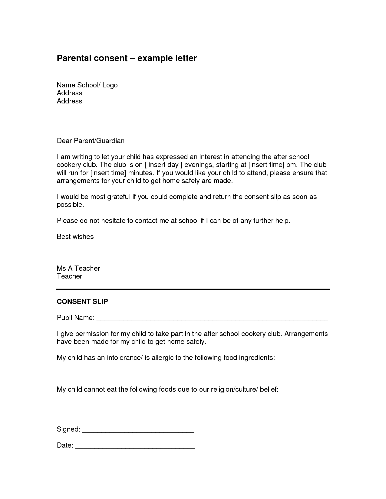 Parental Travel Consent Template Examples – Parents Consent Letter for Work