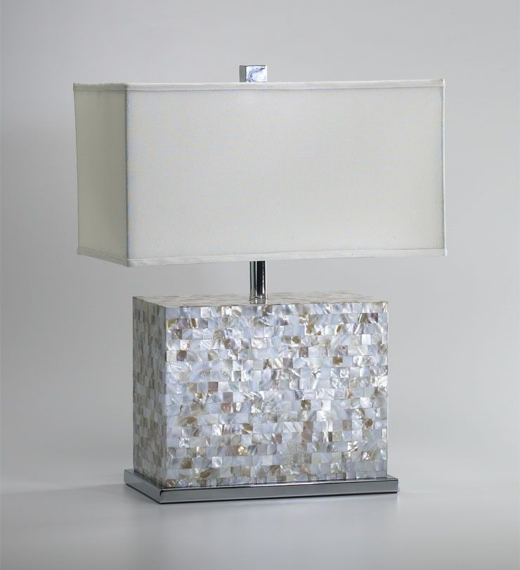 Mother of pearl tile rectangle table lamp beach house decorating mother of pearl tile rectangle table lamp aloadofball Image collections