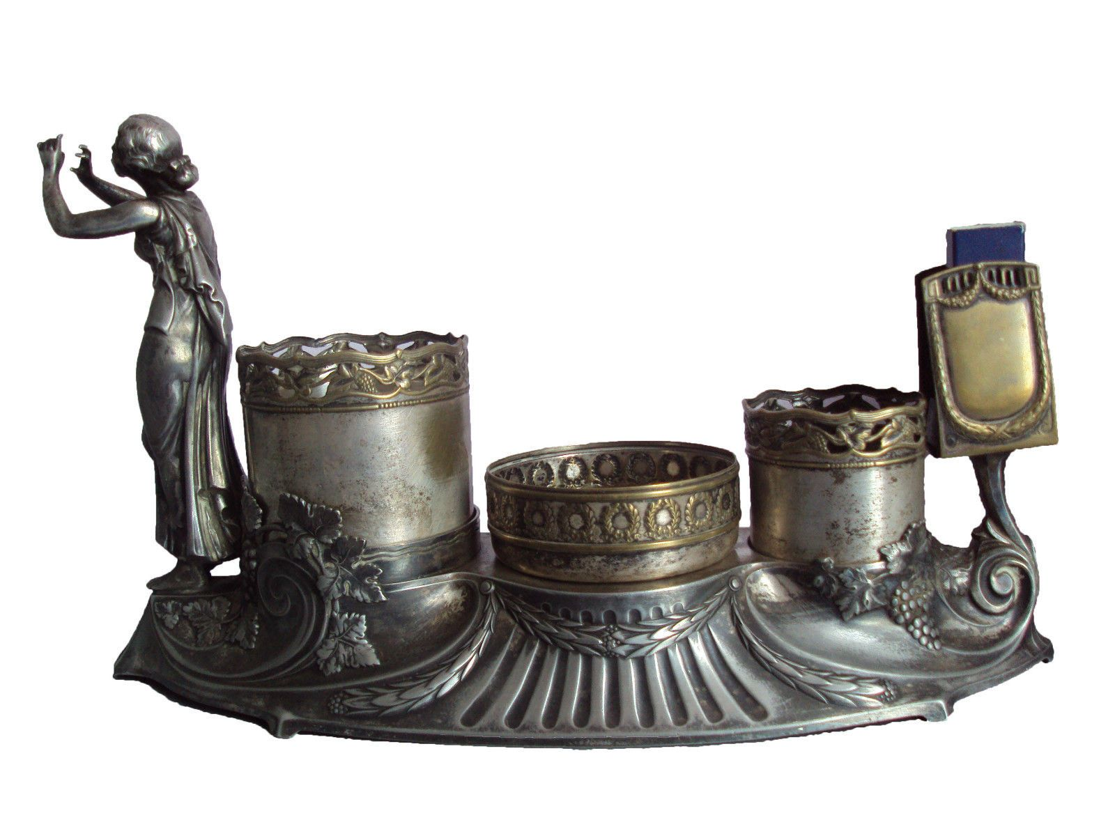 antique wmf jugendstil versilbert frau raucher ensemble ca 1900 markiert for sale eur. Black Bedroom Furniture Sets. Home Design Ideas