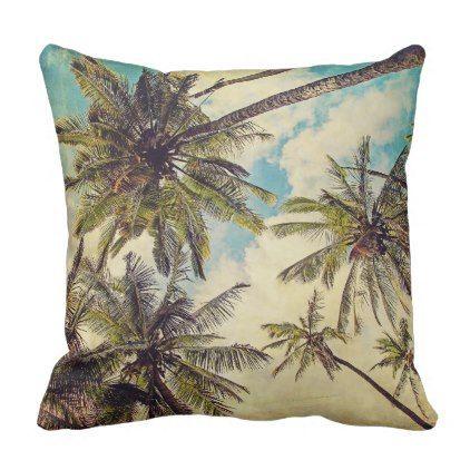 Tropical Kauai Palm Tree Print Outdoor Pillow Zazzle Com