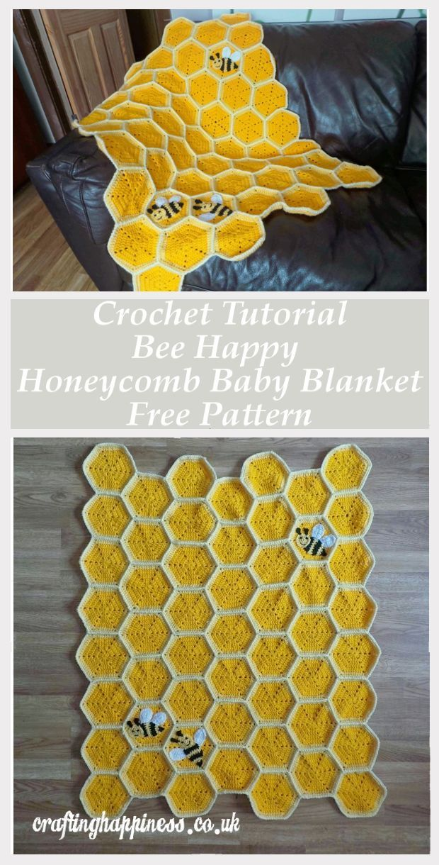 Bee Happy Honeycomb Baby Blanket Crochet Pattern | Crafting Happiness #babyblanket
