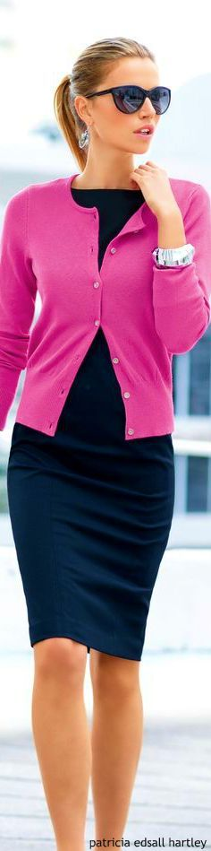 ← colors that go with hot pink Hot pink cardigan with classic ...