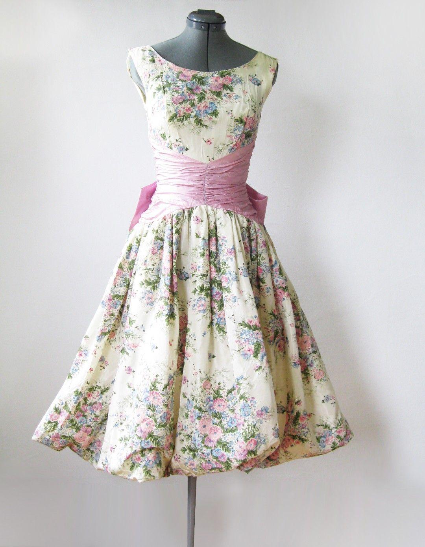Vintage 50s spring garden party dress | Kleider 50er, Vintage ...
