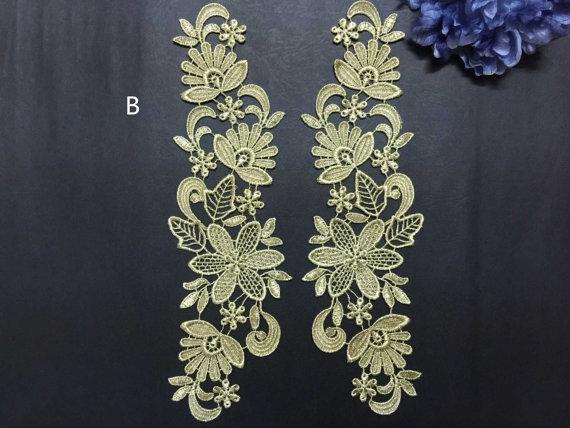 White Floral Venise Appliques Embroidered Guipure Dess Sew On Trim 31x9cm
