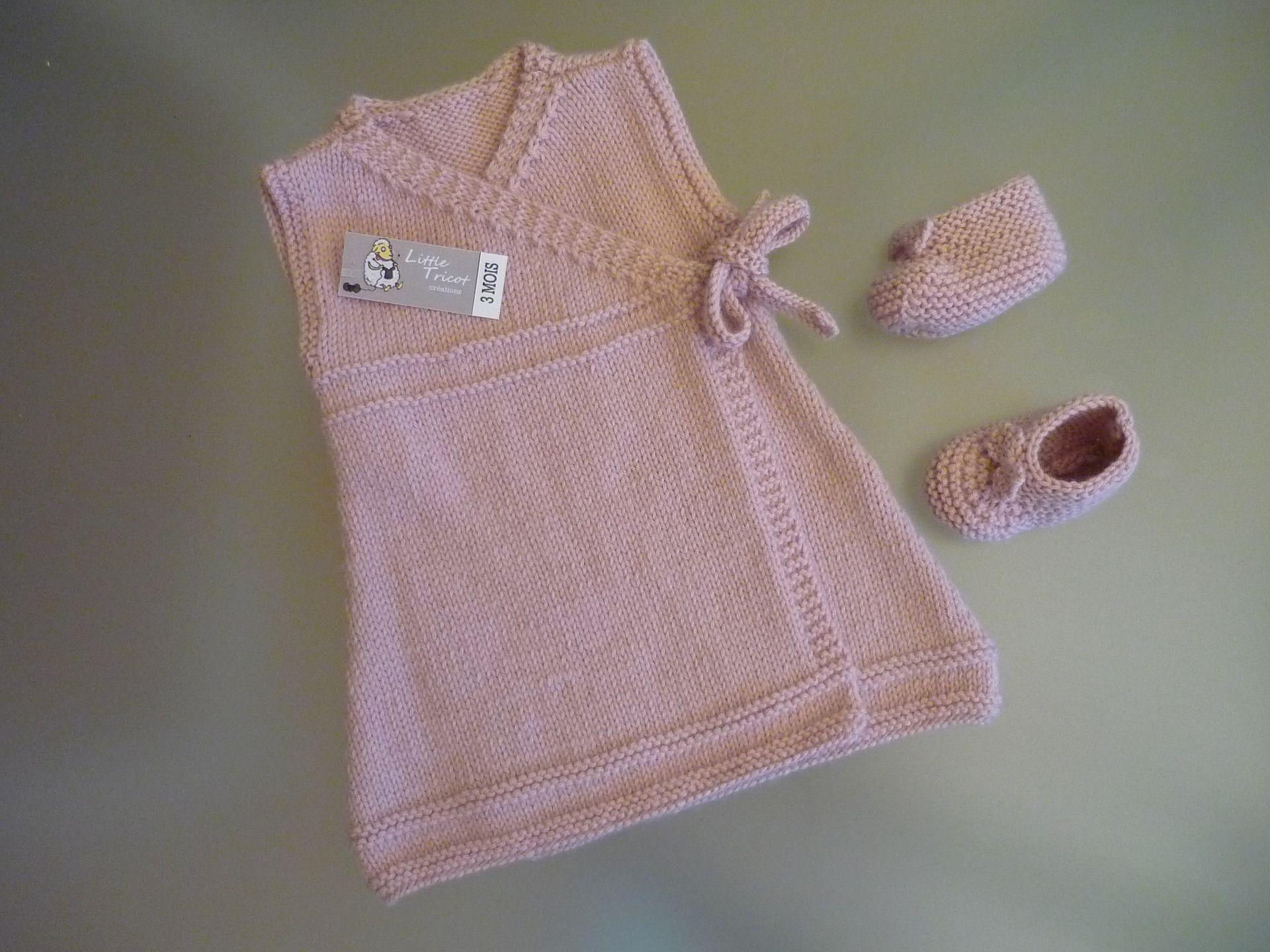 Robe en laine et chaussons pour bebe 3 mois rose tendre layette mode b b - Report de paiement de 3 mois par cb ...
