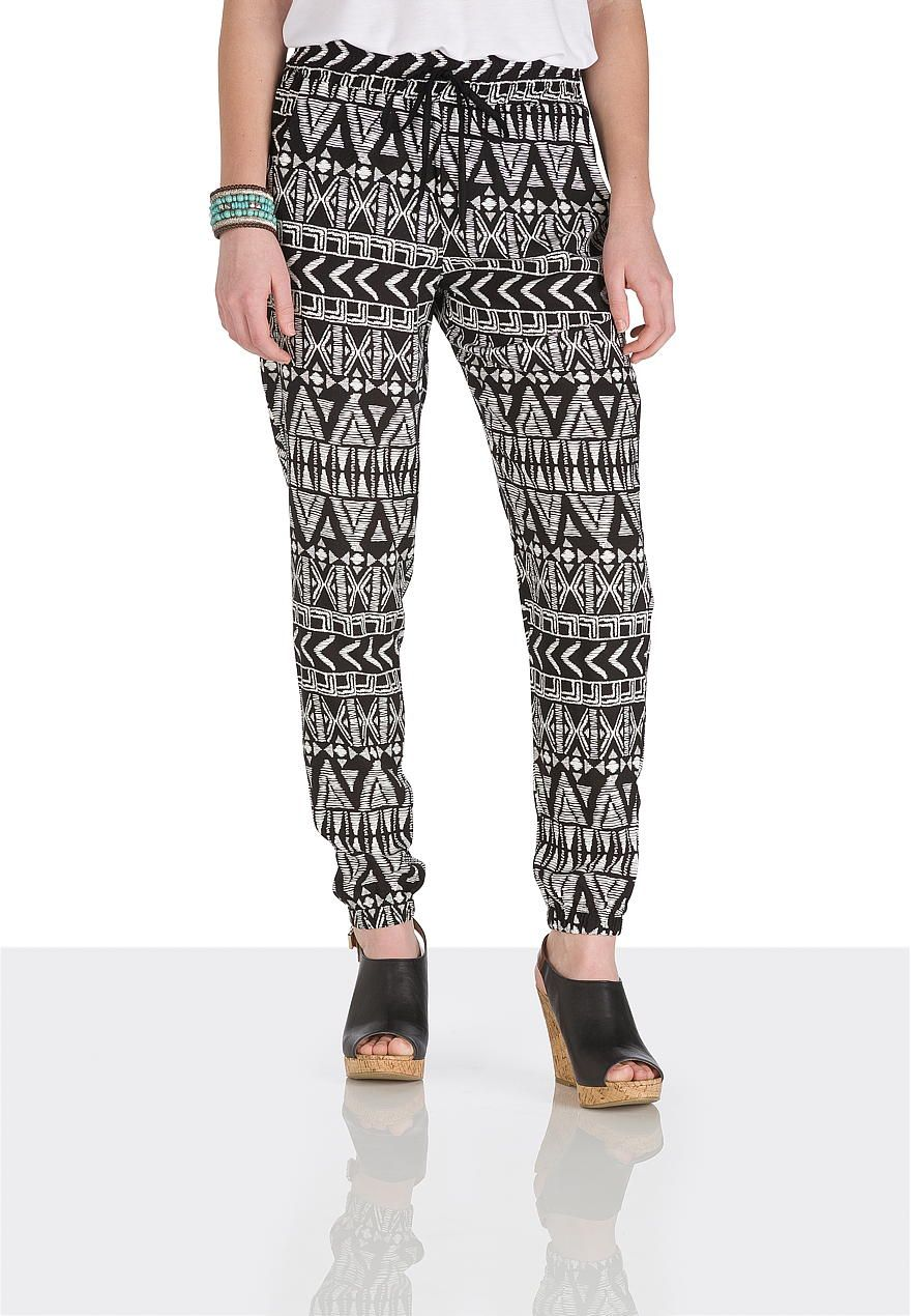 Black and white tribal print jogger pants - maurices.com