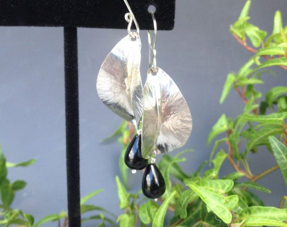 Onyx Leaf Earrings Sterling Silver Nature by HeatherEvansJewelry