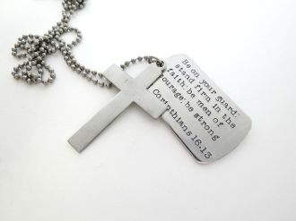Personalized mens necklace with silver cross bible verse custom personalized mens necklace with silver cross bible verse custom dog tag guys jewelry audiocablefo
