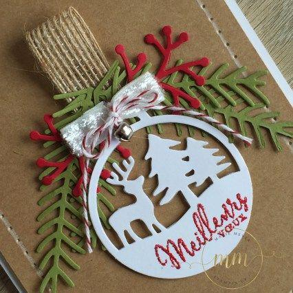 Cartes de Noël Framelits Joyeuses étiquettes et Branches et pommes de pin