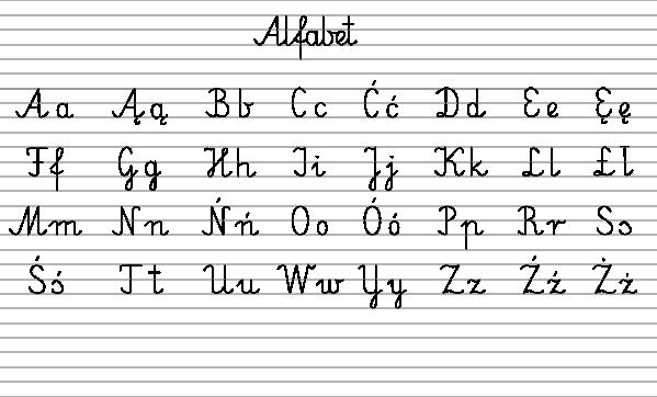 polski alfabet pisany do wydruku poziomo a4 do druku