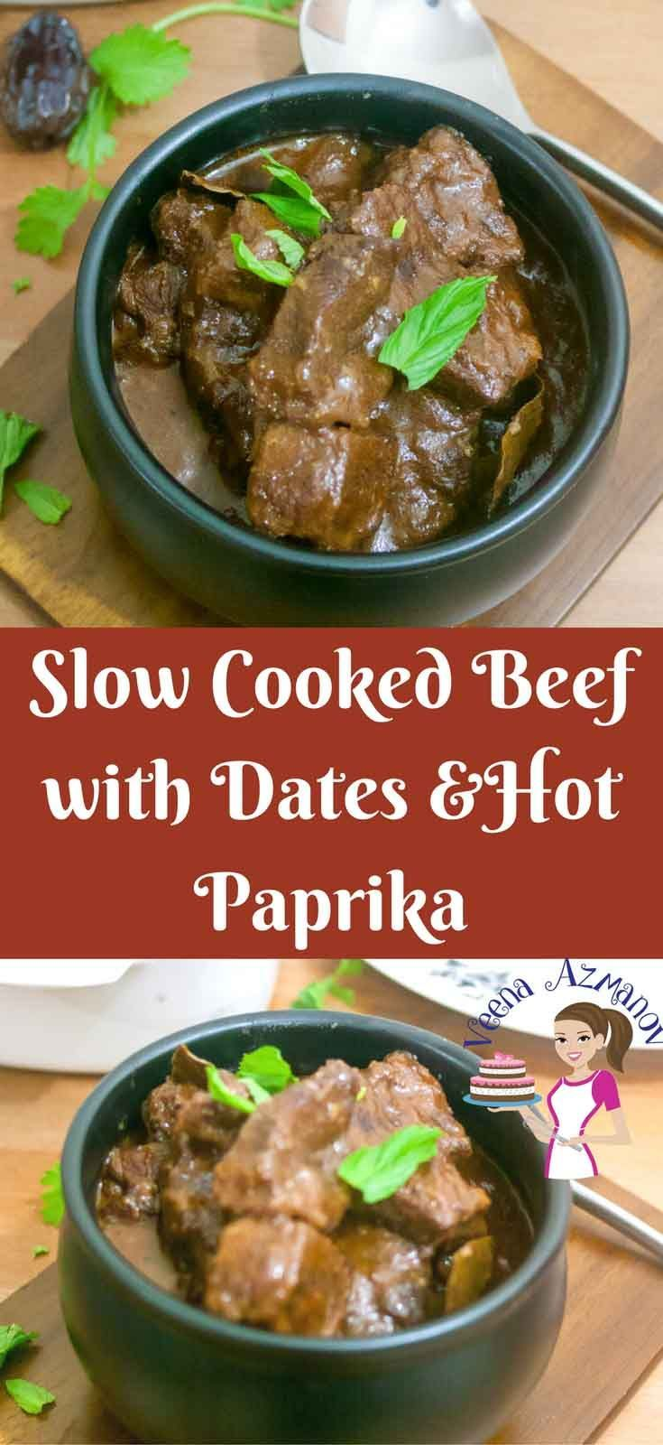 This Moroccan Slow Cooked Beef With Dates Is Easy Simple Tender And Melts In The Mouth It Has A Hand Easy Slow Cooker Recipes Moroccan Beef Slow Cooked Beef