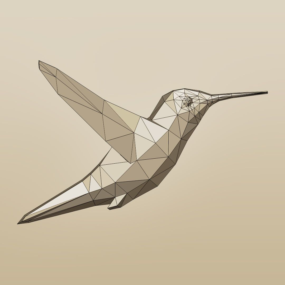 rigged low-poly hummingbird 3d model low-poly rigged