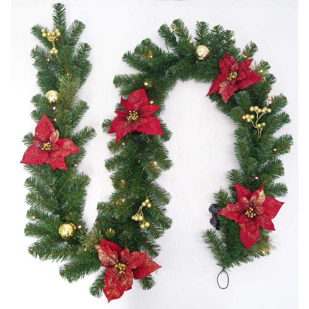 Home Accents Holiday 9 Ft Pre Lit Led Glittered Poinsettia Artificial Christmas Garland With 35 Artificial Christmas Garland Christmas Garland Pre Lit Garland