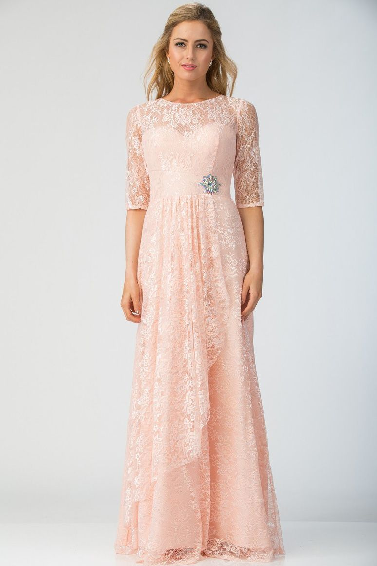 Elegant lace evening dress sbl solid color long lace evening