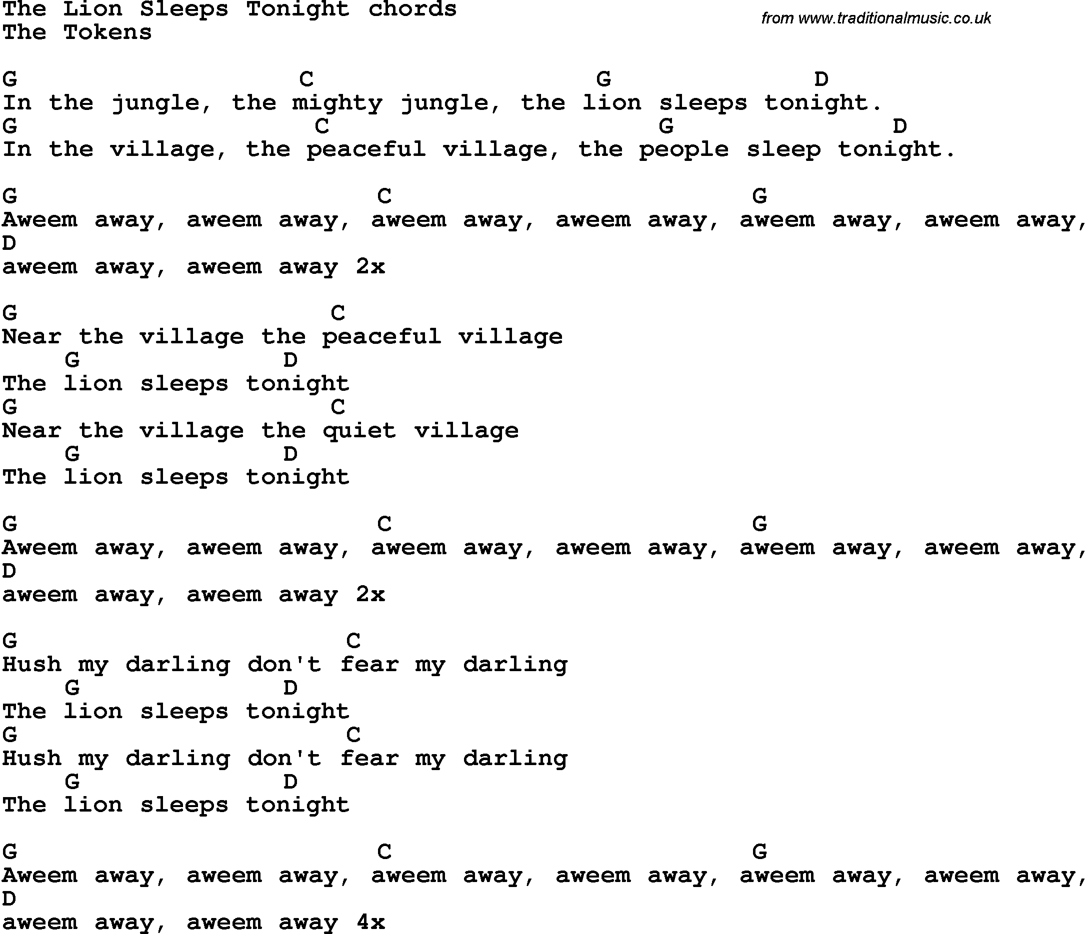 Song Lyrics With Guitar Chords For The Lion Sleeps Tonight