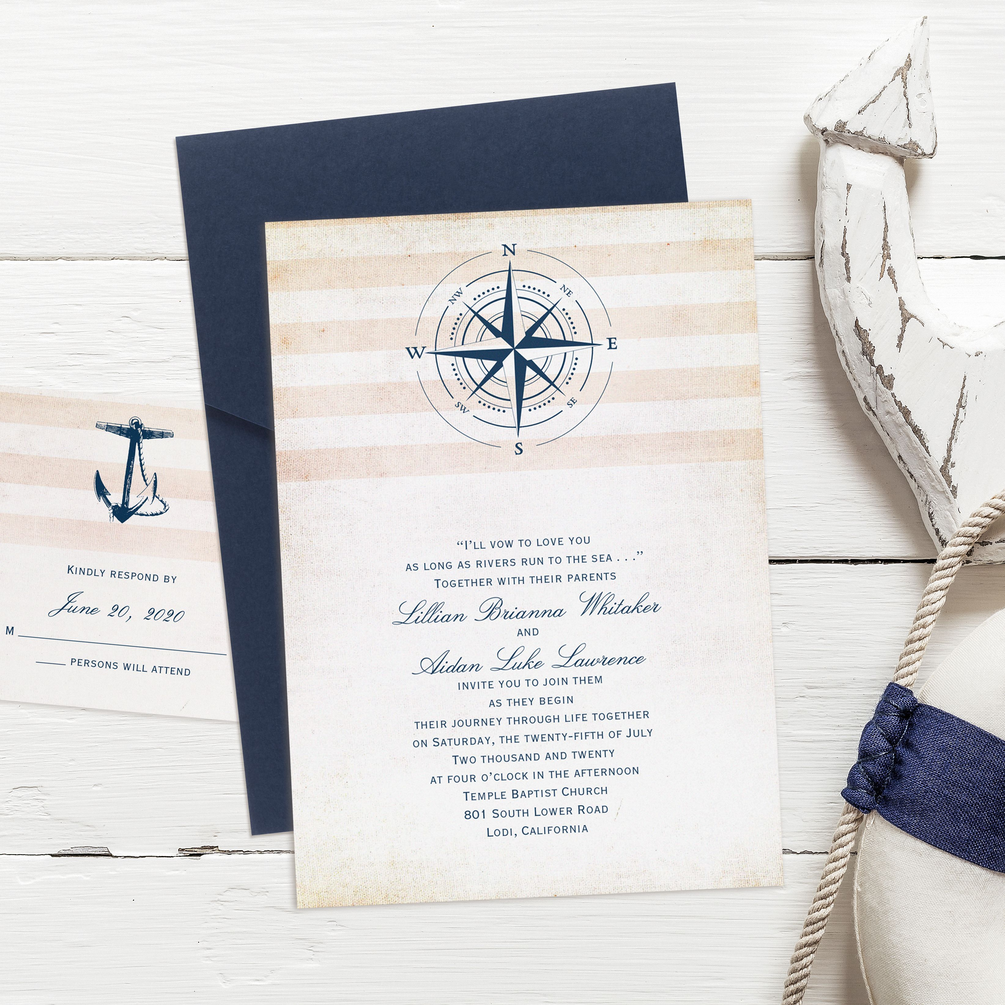 Elegant Nautical Wedding Invitations: This Classy Nautical Invitation Fits Into An Elegant Navy