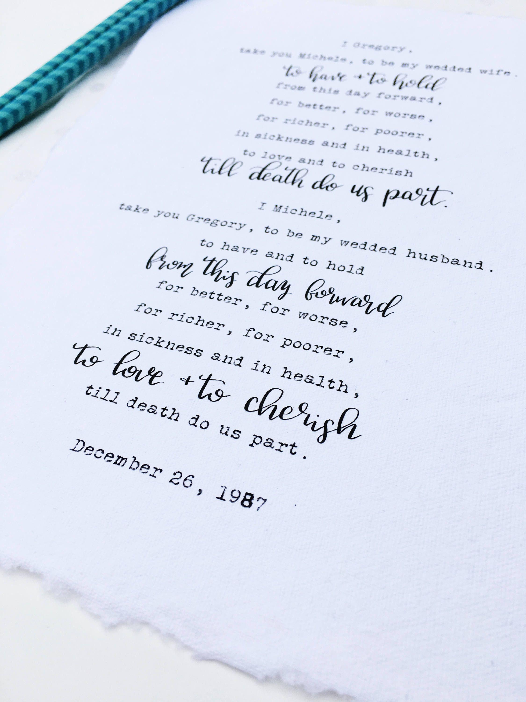 Calligraphy Wedding Vows Art 1st Anniversary Gift Cotton